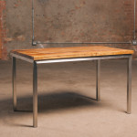 Stainless Steel Parson Table with Old Growth Pine Top - RX Made